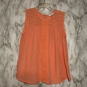Coral  embroidered lace tank top
